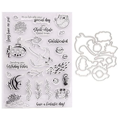 Wacemak1r Sellos de silicona transparente sello etiqueta de corte mueren pescado submarino plantilla de relieve plantilla molde scrapbooking DIY herramientas de arte