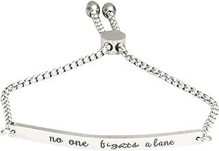 A N KINGPiiN Pulsera ajustable de acero inoxidable con cadena de eslabones para sobreviviente del cáncer, regalo motivacional