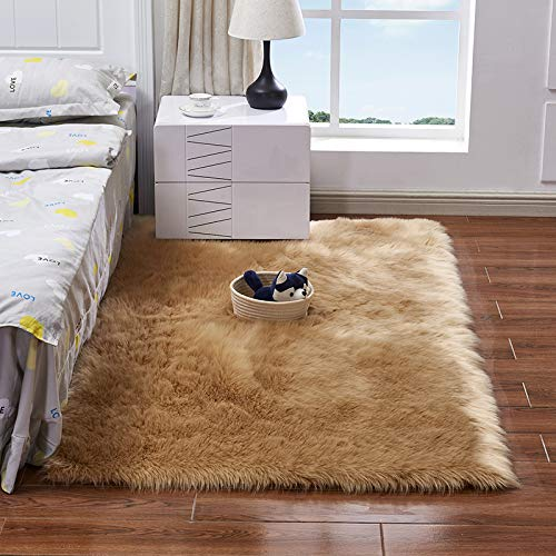 Fluffy Plush Sheepskin Area Throw Rug Faux Fur Luxury Design Chic Style Cozy Shaggy Rectangle Rug Floor Mat Area Rugs Home Decorator Super Soft Carpets Living Room Kids Play, Beige Tan 3x4 ft Diameter