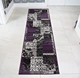 The Rug House Milan Purple, Black & Grey Patchwork Hall Runner Rugs 1568-H33-10 Sizes