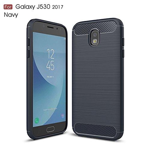 YHUISEN Custodia in gomma siliconica spazzolata Ultra Light Carbon Fiber ShockProof per Samsung Galaxy J5 Pro 2017 J530 ( Color : Navy )