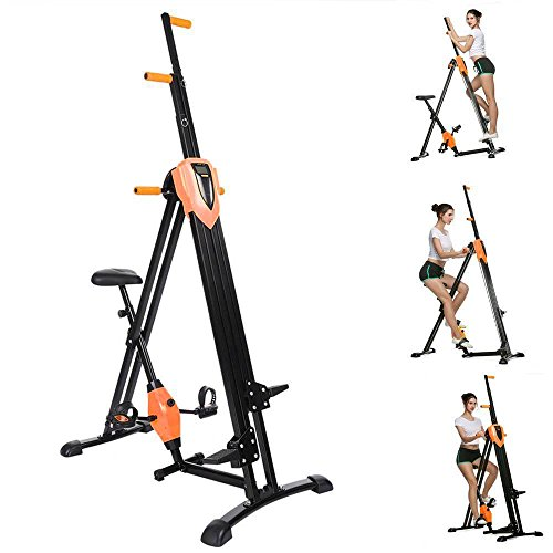 Acecoree 2in1 Vertical Climber, Fitness Stepper Vertikale Kletterer Gym Übung Klettern klappbar, Multifunktion mit Anti-Rutsch Design Ganzkörpertraining Crosstrainer (Orange)