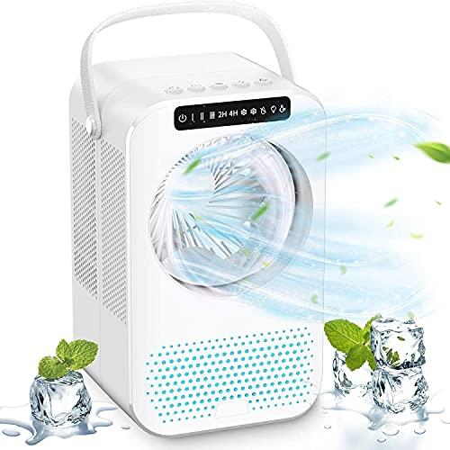 Mobile Klimaanlage Mini 4 in 1 Persönliche Klimageräte Leise Ventilator mit 2/4H Timer Luftbefeuchter 3 Stufen 7 Nachtlichter PU Licht tragbar Air Cooler für Home Office,Zuhause und Schlafzimmer