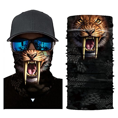 Colorful Damen/Herren Multifunktionstuch | Sturmmaske | Bandana | Schlauchtuch | Halstuch für Motorrad Fahrrad Ski Paintball Gamer Karneval Kostüm 3D Tiere Maske (C)