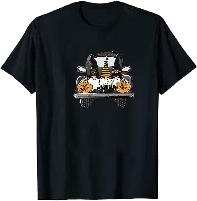AODONG Pumpkin Sweatshirt Summer Tops for Women Casual Short Sleeves Halloween Pumpkin Gnomes Graphic T-Shirts Blouse Tops