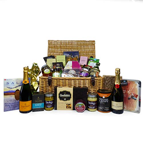 Champagne and Luxury Food Gift Hamper - Includes Veuve Clicquot, Moet & Chandon and Delicious Gourmet Foods - Ideas for Birthday, Christmas, Anniversary, Thank You, Business and Corporate Gifts