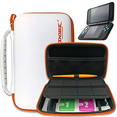 2DS XL Case - ADZ Protective Carry DS Case compatible with New Nintendo 2DS XL, Nintendo 3DS Console, Nintendo DS has 8 DS Game Card holders, 2 Screen Protectors, Stylus Pen, 2 Screen Wipes White