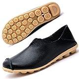 Mocasines de Cuero Mujer Casual Zapatos de Conducción Moda Loafers Verano Planos Zapatillas del Barco Zapatos Negro EU39.5=CN41