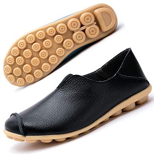 Mocasines de Cuero Mujer Casual Zapatos de Conducción Moda Loafers Verano Planos Zapatillas del Barco Zapatos Negro EU37.5=CN38