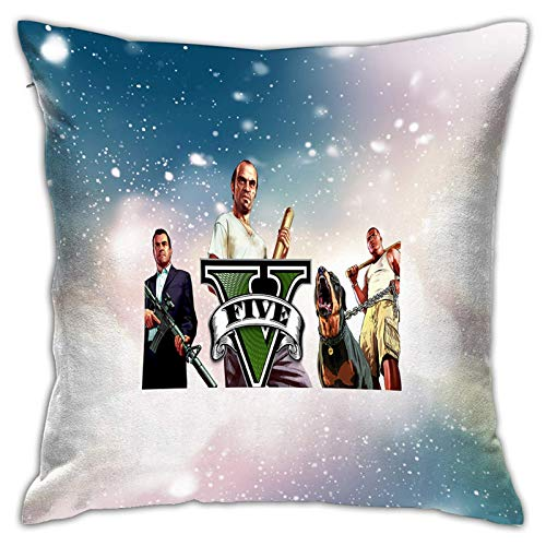 ChenZhuang Throw Pillow Covers GTA-V Square Throw Pillow Covers Bed Pillow Cover Pillow Cases for Couch Sofa Bedroom,Indo.