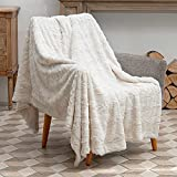 TOONOW Soft Faux Fur Throw Blanket for Couch, No-Shedding Fuzzy Throw Blankets, Microfiber White Throw Blanket for Bed, Sofa, Living Room (White-51'x 67')