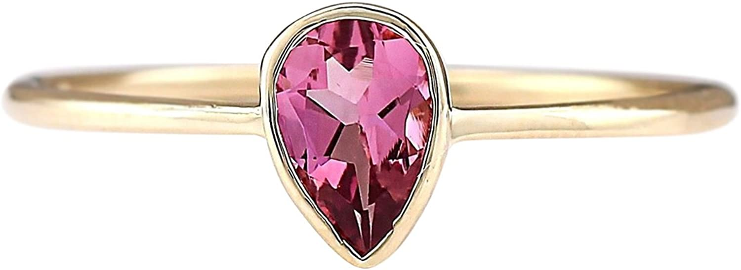 0.5 Carat Natural Pink Tourmaline 14K Yellow gold Solitaire Promise Ring for Women