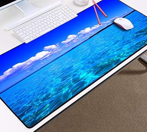 Blauwe hemel en witte wolken mooie Scenery Ocean Beach Water Behang Tafel Rubber muismat groot formaat Game Gamer Pc Computer Mouse Pad 900 * 400 * 3Mm