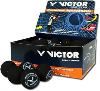 VICTOR, palline da squash 1X, 3X, 6X, 12X veloce, lento, medio e molto veloce II, doppelgelb, 12 pezzi