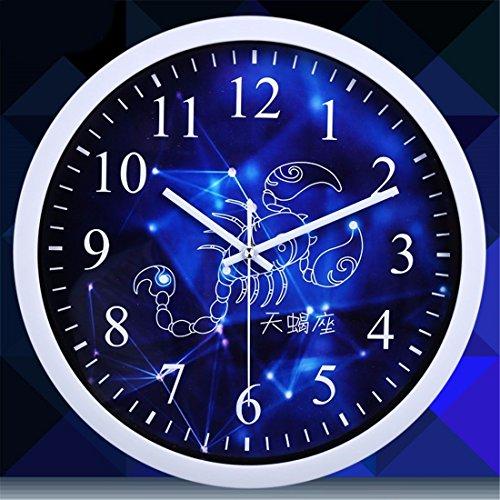 FortuneVin Stumm 12 Sternbilder Sterne. Quarz 10 im Skorpion (Weiß) Moderne Wanduhr Home Office Dekorationen hängen Uhren