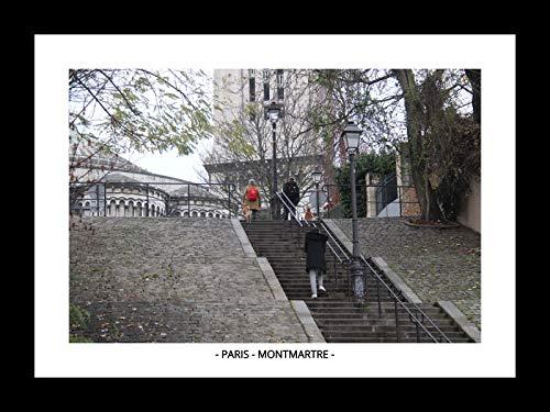 QUADRO C/VIDRO PARIS - MONTMARTRE II (MOLDURA PRETA, IMAGEM COLORIDA)