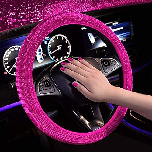 Gutsbox Funda para volante de piel con purpurina, brillante, universal, 37-38 cm
