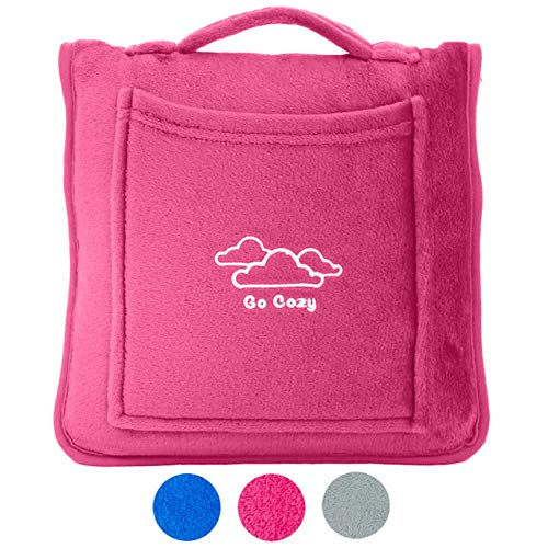 Go Cozy Airplane Microfleece Travel Blanket Pillow - with Travelling Carry Case, 4-in-1 Design Doubles as Neck and Lumbar Support - for Car, Plane, Train and Home (Pink)