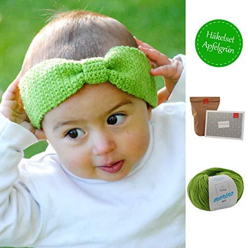 Häkelpaket - Kinder Stirnband Schleifchen - Häkelset Stirnband 1 Knäuel Merino Mix apfelgrün (50g, Nadelstärke 4mm), Häkelanleitung – Häkel Set Kinder – Häkelpackung