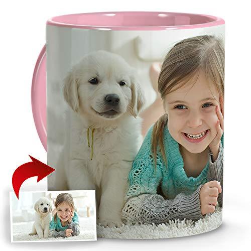 LolaPix Taza Desayuno Personalizada. Regalos Personalizados con Foto. Taza Personalizada de Cerámica. Taza con Color Interior y Asa Rosa