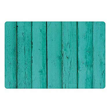 Lunarable Mint Pet Mats for Food and Water by, Old Wooden Rustic Oak Plank Background with Vertical Striped Vivid Woods Farm Barn Image, Rectangle Non-Slip Rubber Mat for Dogs and Cats, Teal