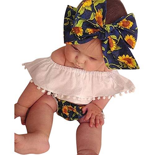 Fossen Ropa Bebe Niña Verano 2019-3 PC/Conjuntos -Camiseta de Manga Corta con Volantes de Flecos Pantalones Cortos de Girasol + Banda de Pelo - para Recien Nacido 0 a 2 años