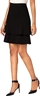 NINE WEST Women's BI STRETCH SKIRT WITH DOUBLE RUFFLE Skirt