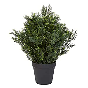 Home Pure Garden 26-Inch-Tall Artificial Cedar Topiary Indoor or Outdoor UV Protection Plastic Tree in Pot Office
