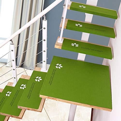 Set di Pad per Scale Luminosi da 5 Pezzi, Tappetino Antiscivolo per tappeti per Scale, Tappeto anticaduta per Scale, Tappeto Verde per Scale, 60 * 21,5 * 4 cm,Green~B-L