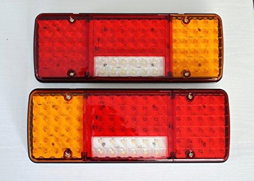 Dos luces traseras LED de 12V con cinco funciones; diseño ultrafino para camiones, remolques, chasis, coches volquete LKW, caravanas y autocaravanas.