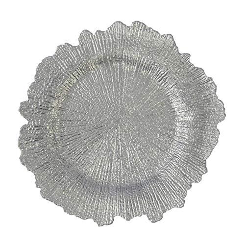 FACAI Tablero plástico de Plata del Cargador del Arrecife - decoración Floral Redonda del Banquete de Boda del Tablero del Cargador de la Esponja de 12 13 Pulgadas
