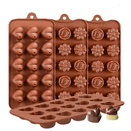 KBstore 4 Pezzi Stampo in Silicone per Cioccolato - Forma di Cuore Fiore Stampi in Silicone per Cioccolatini/Caramelle al Caff¨¨/Cubetti di Ghiaccio/Gelatina