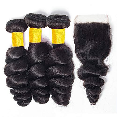 Lot de 3 extensions de cheveux humains de Malaisie, ondulés 8A, non traités, couleur naturelle, 20 à 50 cm