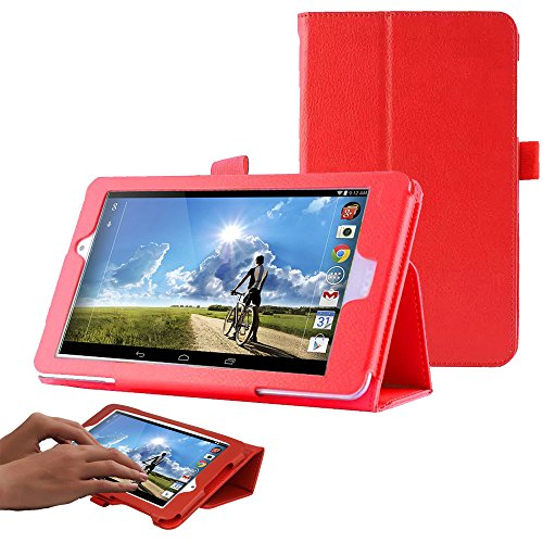 TECHGEAR Case fits Acer Iconia One 8 (Model: B1-810) PU Leather Folio Case Cover with Stand (RED)