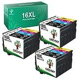 GREENSKY 16XL Cartuchos Tinta Compatible para Epson 16 XL para Epson Workforce WF-2630 WF-2510 WF-2530 WF-2650 WF-2750 WF-2760 WF-2010 WF-2540 WF-2660 WF-2520 (6 Negro, 3 Cian, 3 Magenta, 3 Amarillo)