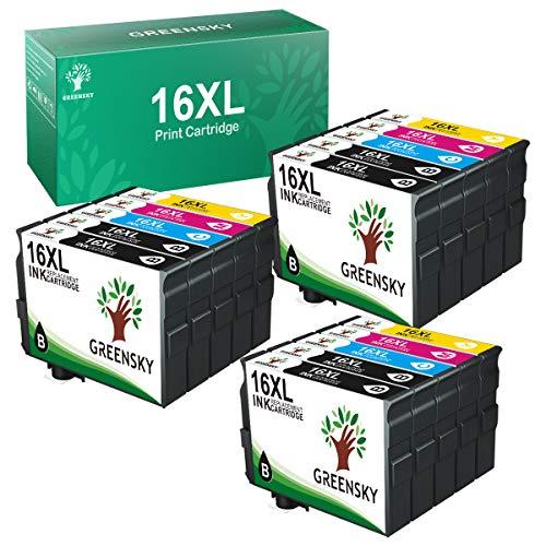 GREENSKY 16XL Multipack Cartucce Compatibile per Epson 16 XL per Epson WorkForce WF-2630 WF-2010 WF-2510 WF-2650 WF-2660 WF-2750 WF-2760 WF-2520 WF-2530 WF-2540 (6 Nero, 3 Ciano, 3 Magenta, 3 Giallo)