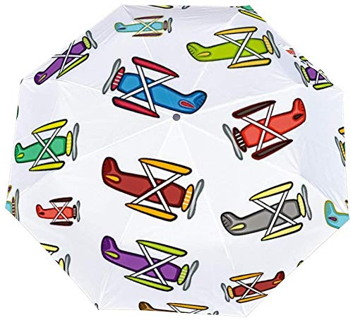 Umgekehrter winddichter Regenschirm im Flugzeug-Cartoon-Muster – umgekehrter Regenschirm mit C-förmigem Griff für Damen und Herren – doppellagiger nach außen klappbarer Regenschirm