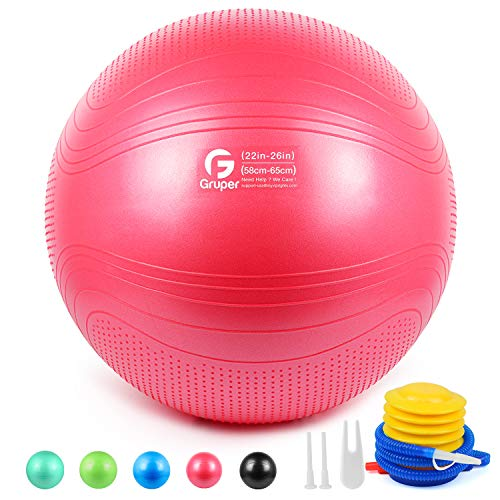 Gruper Yoga Stability Ball - Extra Thick Exercise Ball for Fitness Balance Workout - Anti Burst Chair for Home and Office Desk-Includes Hand Pump & Workout Guide Access (Pink, 22 inch (55cm),M)