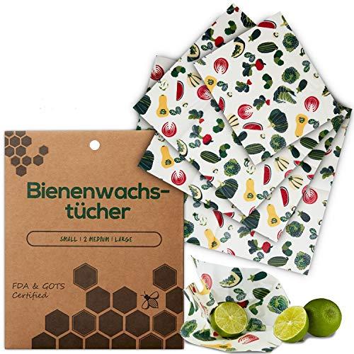 Kleeherz Bees Wraps Bio Bienenwachstücher Lebensmittelwachspapier – als umweltfreundliche Alternative zur Frischhaltefolie! 100% handgemacht und nachhaltig im 4er Set inklusive Baumwollsäckchen