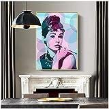 Negro blanco Audrey Hepburn retrato maquillaje, audrey hepburn decoración para sala de estar póster impresiones lienzo pintura pared arte imágenes 60x80 cm (sin marco) artppolr