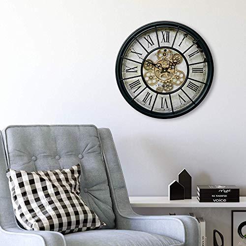 orologio da parete ingranaggi Grande orologio da parete vintage in metallo e vetro con ingranaggi rotanti in oro nero orologi nostalgici in metalli