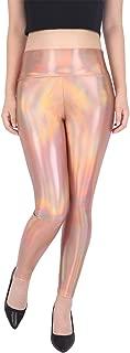 Women's Shiny Holographic Leggings Liquid Metallic Pants Iridescent Tights