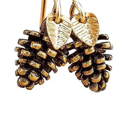 Melanie Golden Jewelry Pinecone Earrings With Leaves in Brass and 14K Gold Fill