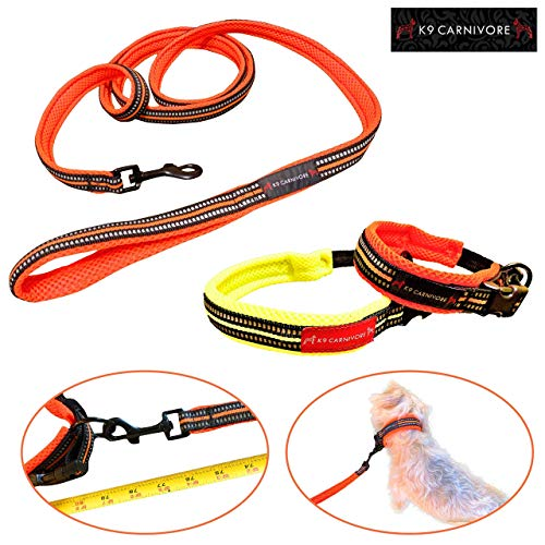 K9 CARNIVORE Durable Mesh Padded Dog Collar and Leash Set, Reflective Strip Extra Safe and Comfy for Small to Large Dogs