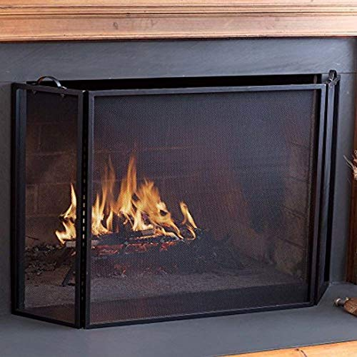 Plow & Hearth 3 Panel Flatguard Fireplace Screen, 50' W x 30' H, Black