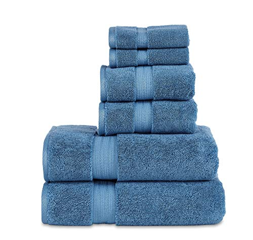 "800 GSM 6 Piece Towels Set, 100% Cotton, Premium Hotel & Spa Quality, Highly Absorbent, 2 Bath 27"" x 54"", 2 Hand Towel 16"" x 28"" and 2 Wash Cloth 12"" x 12"". Blue Color"