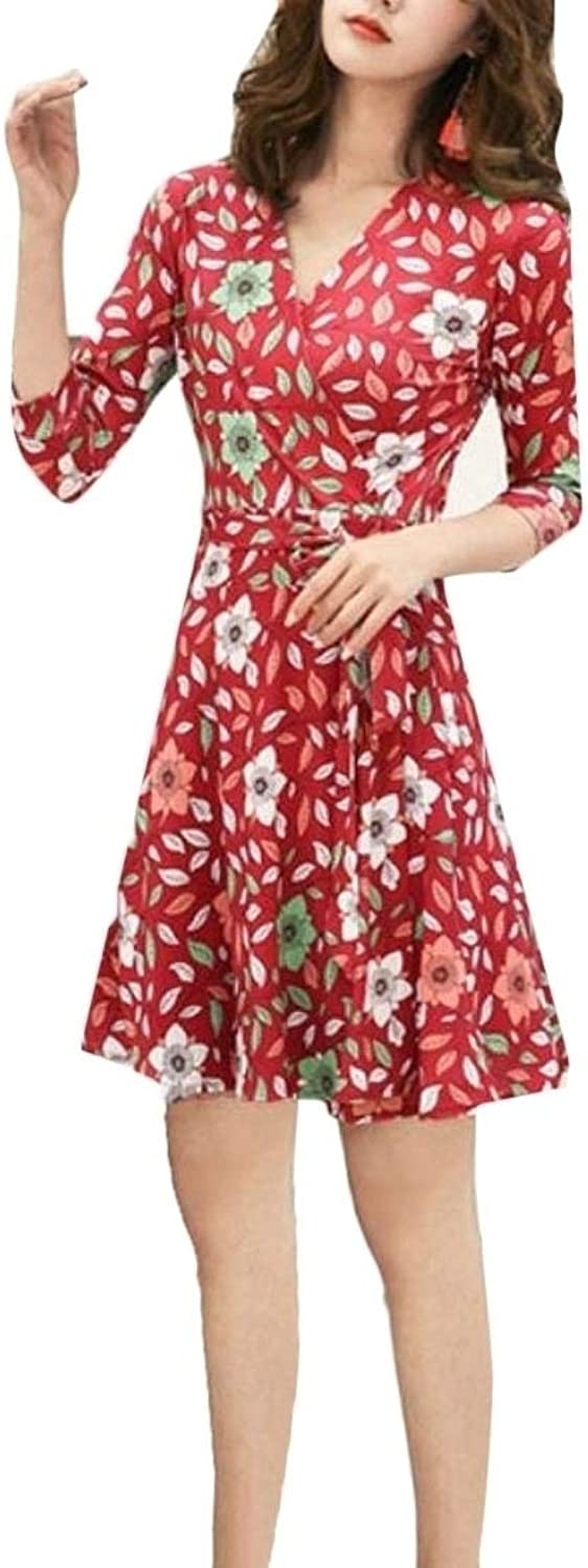 Joe WenkoCA Women's Wrap Floral Printed Swing Comfortable Pleated 3 4 Sleeve V Neck Midi Dresses
