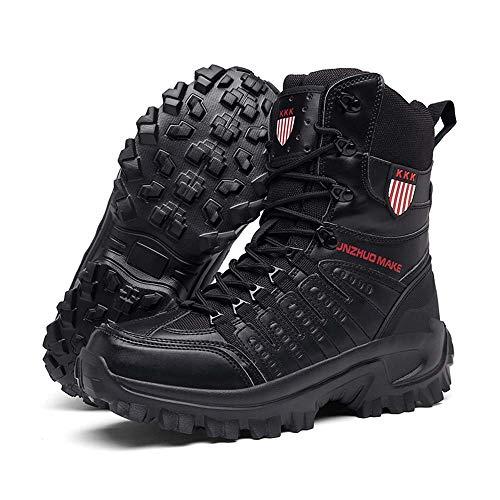 Bititger - Botas de desierto militares de piel, impermeables, con cremallera, botas tácticas y de combate para hombre, para patrullas, de seguridad, para policías, color Negro, talla 42 1/3 EU