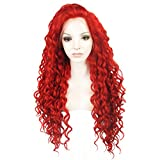 Ebingoo Long Curly Brown Lace Front Wig Synthetic Hair Wigs for Women N18 30+27HR (red)
