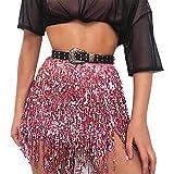 Women's Sequin Tassel Skirts Belly Dance Hip Skirt Tassel ScarfBoho Fringe Skirt Party Club Hip Scarf Belt Wrap Skirt (Pink, One Size)